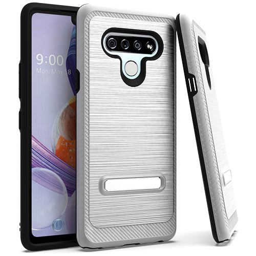 LG Stylo 6 Metal Stand Brushed Case Silver