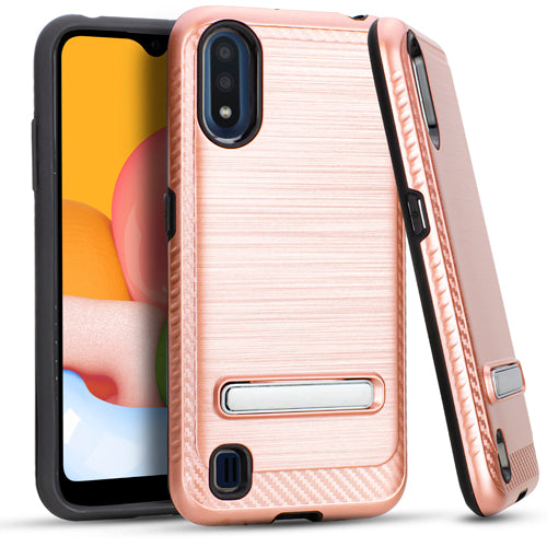 Samsung A01 Metal Stand Brushed Case Rose Gold