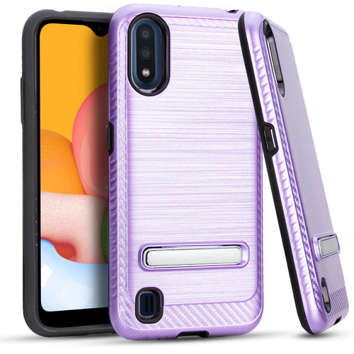 Samsung A01 Metal Stand Brushed Case Purple