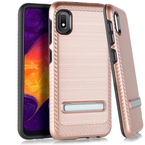 Samsung A10E Metal Stand Brushed Case Rose Gold
