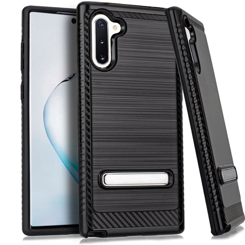 Samsung Note 10 Metal Stand Brushed Case Black