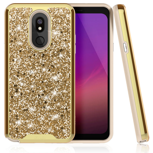 ZIZO LG STYLO 5 STELLAR SERIES CASE DUAL LAYERED WITH GLITTER DESIGN- GOLD