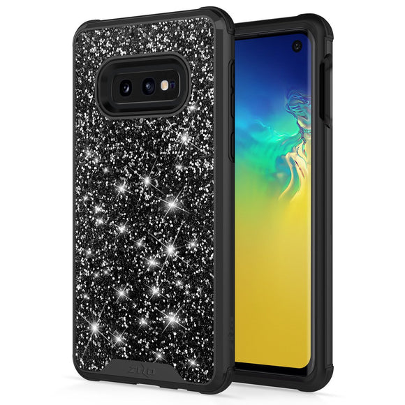 SAMSUNG GALAXY S10E CASE -STELLAR SERIES DUAL LAYERED WITH GLITTER DESIGN BLACK