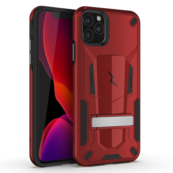 ZIZO TRANSFORM IPHONE 11 PRO (2019) CASE - BUILT-IN KICKSTAND AND UV COATED PC/TPU LAYERS-Black-Red/Black