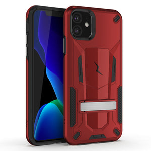 ZIZO TRANSFORM SERIES IPHONE 11 (2019) CASE - BUILT-IN KICKSTAND AND UV COATED PC/TPU LAYERS-Red/Black