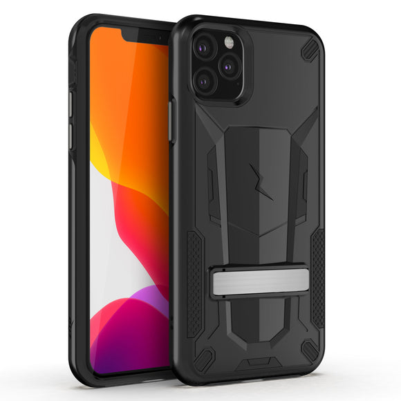 ZIZO TRANSFORM IPHONE 11 PRO MAX (2019) CASE - BUILT-IN KICKSTAND AND UV COATED PC/TPU LAYERS-Black/Black