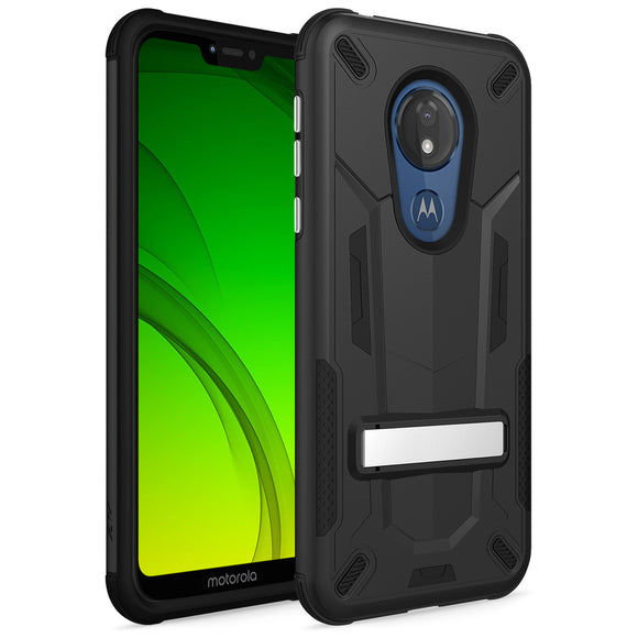 ZIZO TRANSFORM MOTO G7 PLAY CASE - BUILT-IN KICKSTAND AND UV COATED PC/TPU LAYERS-Black