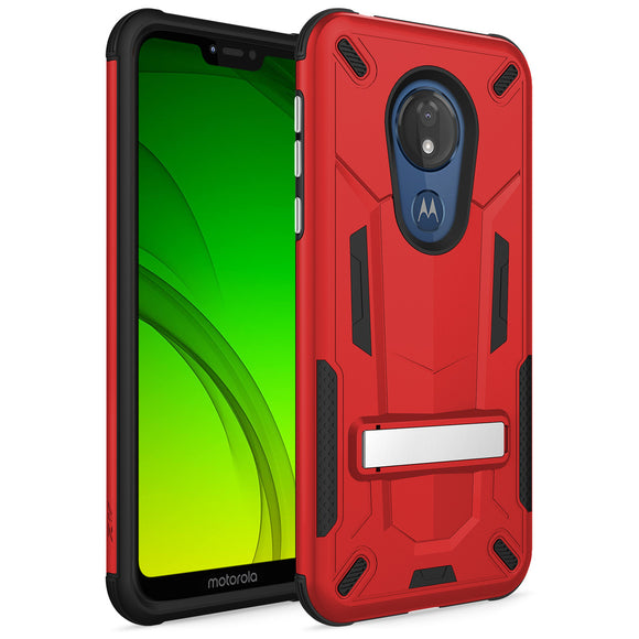 ZIZO TRANSFORM MOTO G7 PLAY CASE - BUILT-IN KICKSTAND AND UV COATED PC/TPU LAYERS-Red