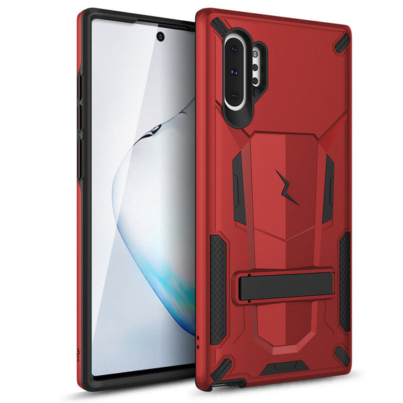ZIZO TRANSFORM SAMSUNG GALAXY NOTE 10+ CASE - BUILT-IN KICKSTAND AND UV COATED PC/TPU LAYERS - RED & BLACK