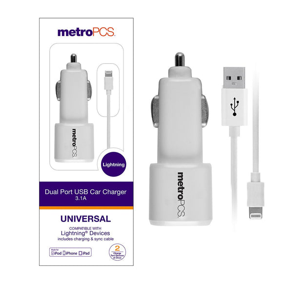 MetroPCS Dual Port USB Car Charger 3.1A with Lightning Cable