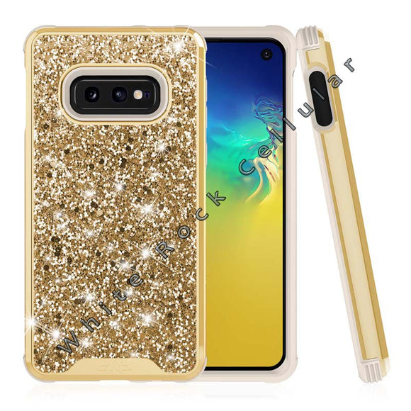 SAMSUNG GALAXY S10E CASE -STELLAR SERIES DUAL LAYERED WITH GLITTER DESIGN GOLD