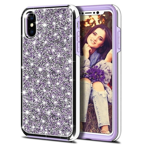 Luxury Glitter Sparkly Diamond Bling Dual Layer TPU+PC Shockproof Case For iPhone 11 PRO 2019 -PURPLE
