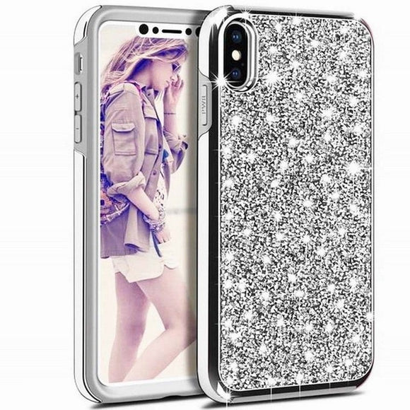 Luxury Glitter Sparkly Diamond Bling Dual Layer TPU+PC Shockproof Case For iPhone 11 PRO 2019 -SILVER