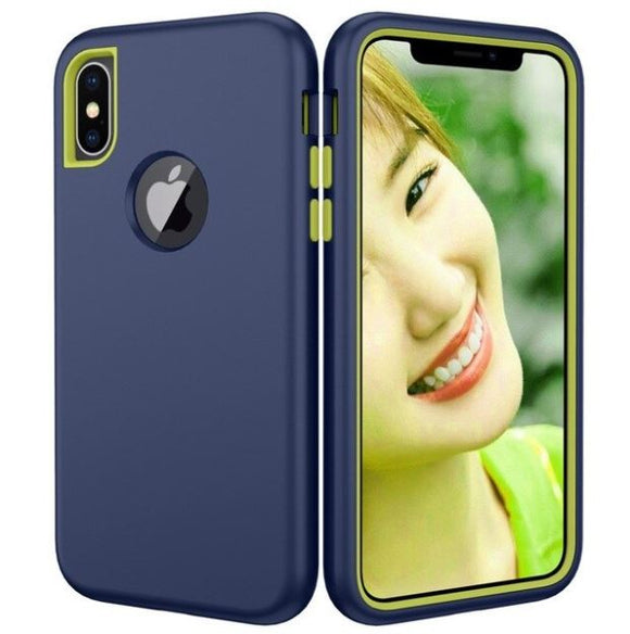 3 in 1 Heavy Duty Armor Shockproof 360 full Protect Case For iPhone 8/7 PLUS Hybrid TPU Silicone+ Rubber Case - Blue