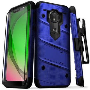 FOR MOTO G7 PLAY - BOLT CASE WITH BUILT IN KICKSTAND HOLSTER AND FULL GLUE GLASS SCREEN PROTECTOR