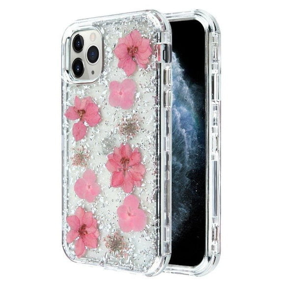 iPhone 12 Pro Max 6.7 Silver Flake With Pink Flower Infused Case