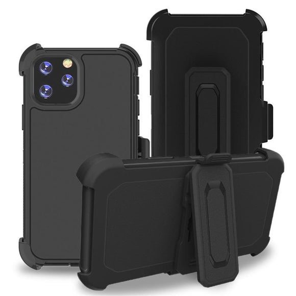 Phone Case iPhone 12 / 12 Pro 6.1 With Belt Clip (Black/Black)