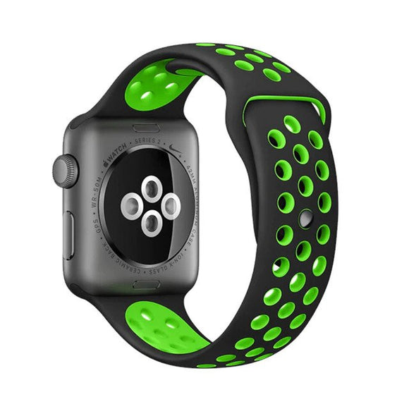 Elastic breathable silicone sport band for apple watch with 38 mm 40 mm wrist band, apple series 4/3/2/1 universal - Black & green