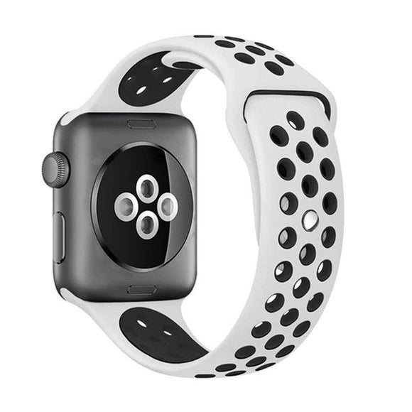 Elastic breathable silicone sport band for apple watch with 42 mm 44 mm wrist band, apple series 4/3/2/1 universal - White & Black