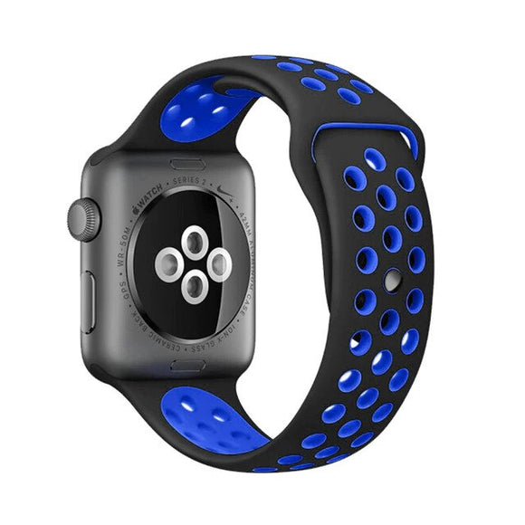 Elastic breathable silicone sport band for apple watch with 42 mm 44 mm wrist band, apple series 4/3/2/1 universal - Black & Blue