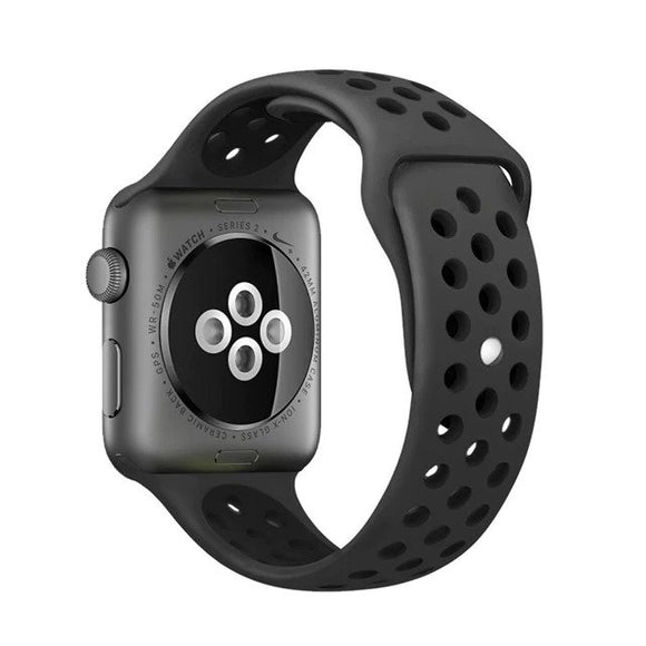 Elastic breathable silicone sport band for apple watch with 42 mm 44 mm wrist band, apple series 4/3/2/1 universal - Black & Black
