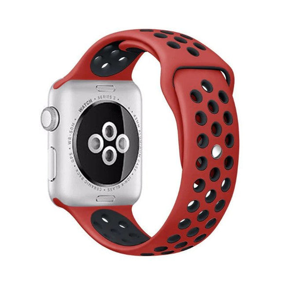 Elastic breathable silicone sport band for apple watch with 42 mm 44 mm wrist band, apple series 4/3/2/1 universal - Red & Black