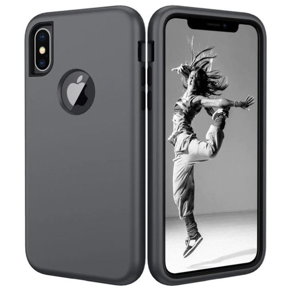 3 in 1 Heavy Duty Armor Shockproof 360 full Protect Case For iPhone 8/7 PLUS Hybrid TPU Silicone+ Rubber Case - Gray