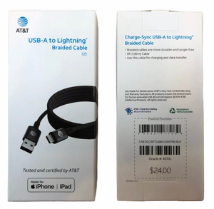 At&t iPhone 6ft Mfi Lightning Braided Charge & Sync Cable - Black