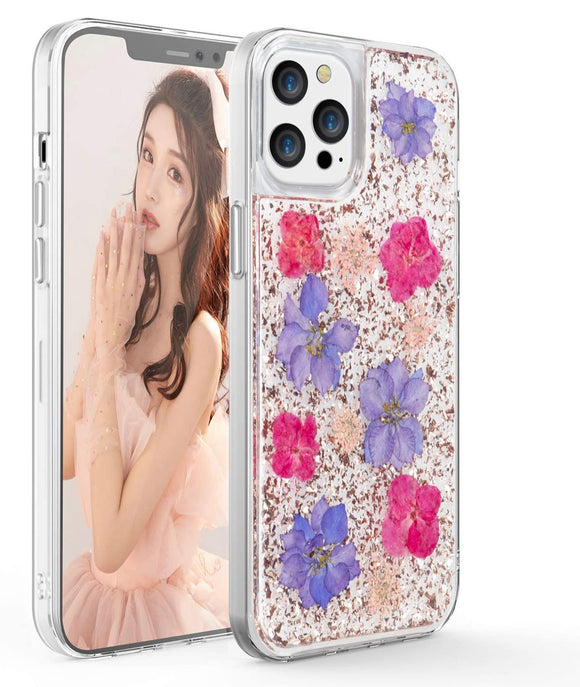 iPhone 12/12 Pro Rose Gold Flake & Purple/Pink Flower Infused Case