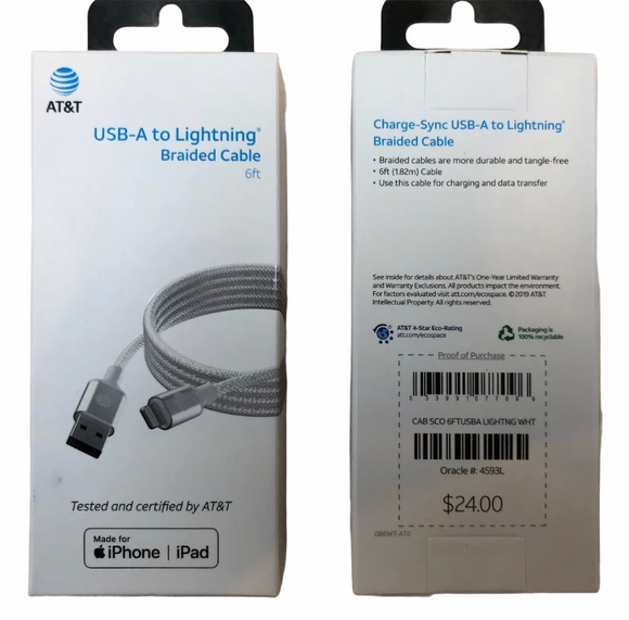 At&t iPhone 6ft Mfi Lightning Braided Charge & Sync Cable - White