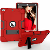 iPad 9.7 6th Generation 2017/2018 Hybrid Protective Case with Kickstand -Red