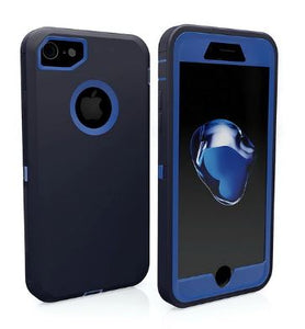 3 in 1 Rubber Hybrid Heavy Defend Shockproof Full Coverage Case Cover for iPhone XS Max with Belt Clip - blue dark blue