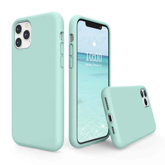 Liquid Silicone Case for iPhone 11 Pro, Slim Liquid Silicone Soft Gel Rubber Case Cover -LIGHT BLUE