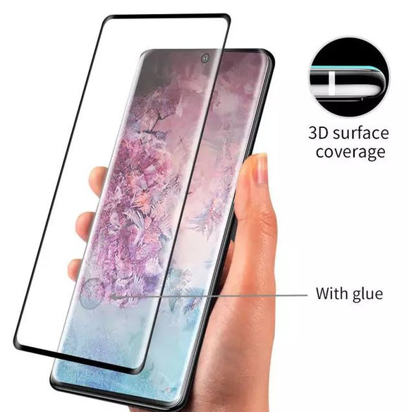 3D FULL COVER TEMPERED GLASS SCREEN PROTECTOR FOR SAMSUNG GALAXY NOTE 10 plus/pro WORK WITH FINGERPRINT