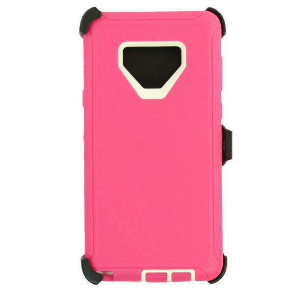 Phone Case Samsung Galaxy Note 9 Case Cover w/ Belt Clip Fits Otterbox Defender - Pink/White