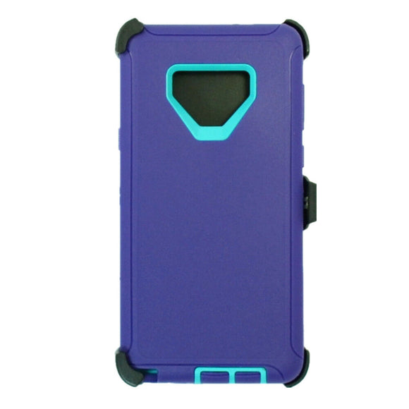 Phone Case Samsung Galaxy Note 9 Case Cover w/ Belt Clip Fits Otterbox Defender - Purple/Teal
