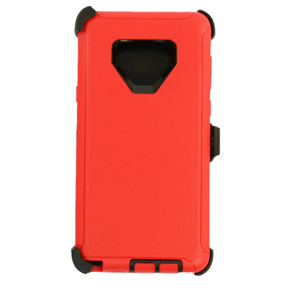 Phone Case Samsung Galaxy Note 9 Case Cover w/ Belt Clip Fits Otterbox Defender - Red/Black