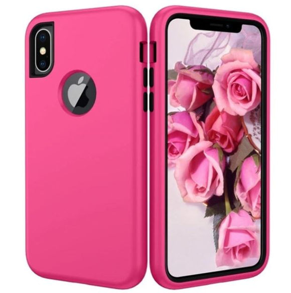 3 in 1 Heavy Duty Armor Shockproof 360 full Protect Case For iPhone 8/7 PLUS Hybrid TPU Silicone+ Rubber Case - Pink