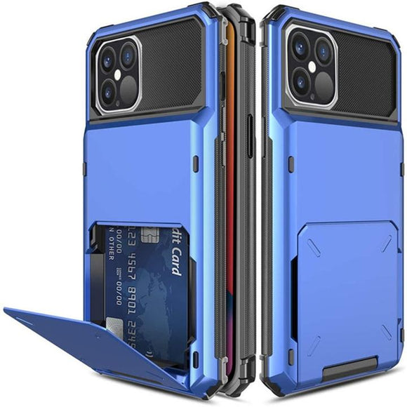 iPhone 12/12Pro 6.1 Credit Card Hyrbid case- Blue