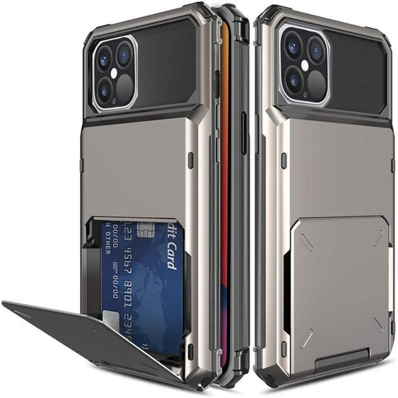 iPhone 12/12pro 6.1 Credit Card Hybrid Case - Black