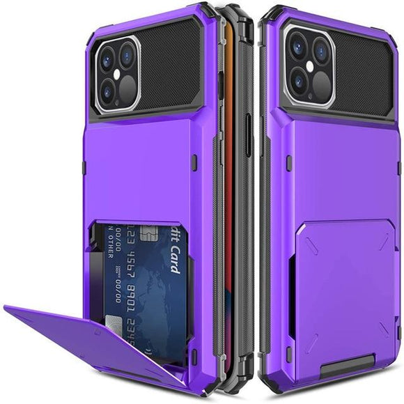 iPhone 12 /12Pro 6.1 Credit Card Hybrid Case- Purple