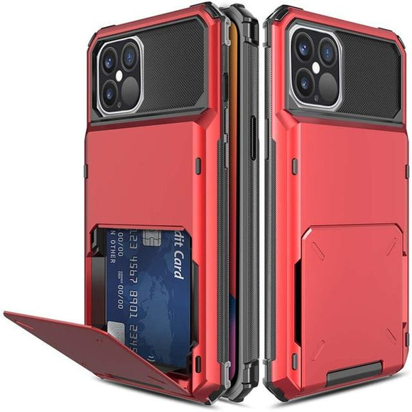 iPhone 12/12pro 6.1 Credit Card Hybrid Case- Red