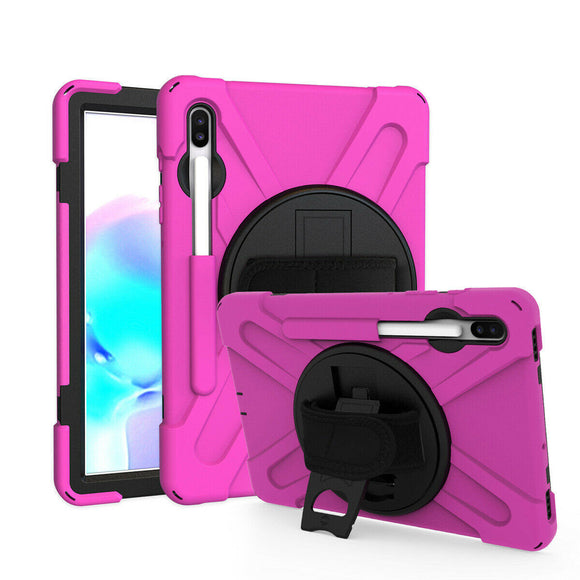 Samsung Tab S6 10.5 2019 SM-T860 T865 Tablet Rotating Stand Strap Case Cover - Hot Pink