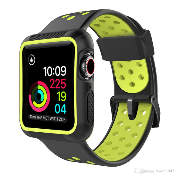 Apple Watch 42mm/44mm  full cover Rugged Silicone Band - Black/Green