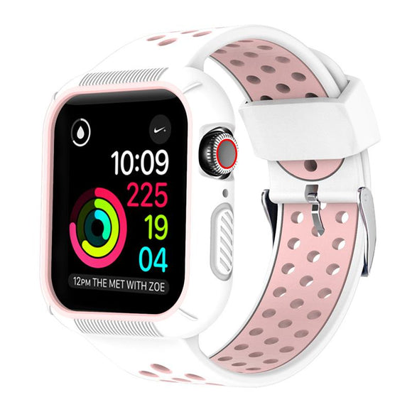 Apple Watch 42mm/44mm  full cover Rugged Silicone Band - White/Pink