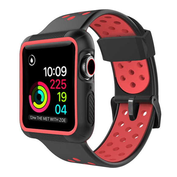 Apple Watch 42mm/44mm  full cover Rugged Silicone Band - Black/Red