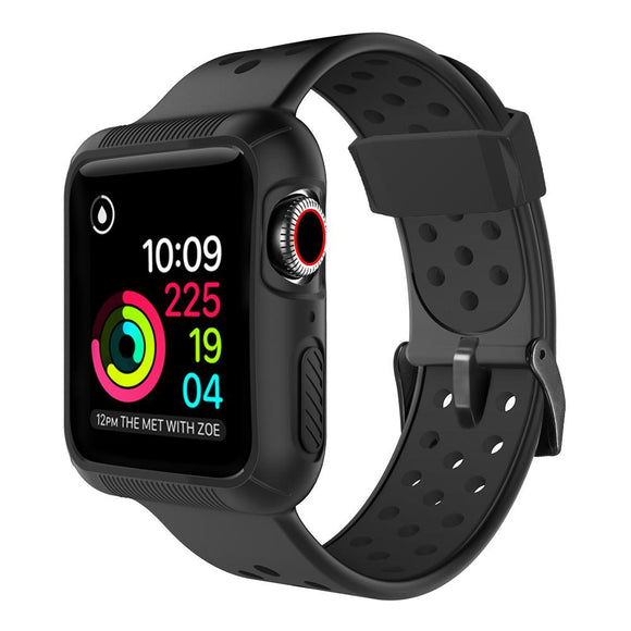 Apple Watch 42mm/44mm  full cover Rugged Silicone Band - Black