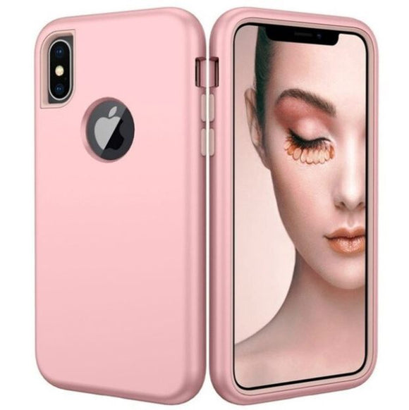 3 in 1 Heavy Duty Armor Shockproof 360 full Protect Case For iPhone XS MAX Hybrid TPU Silicone+ Rubber Case - Rosegold