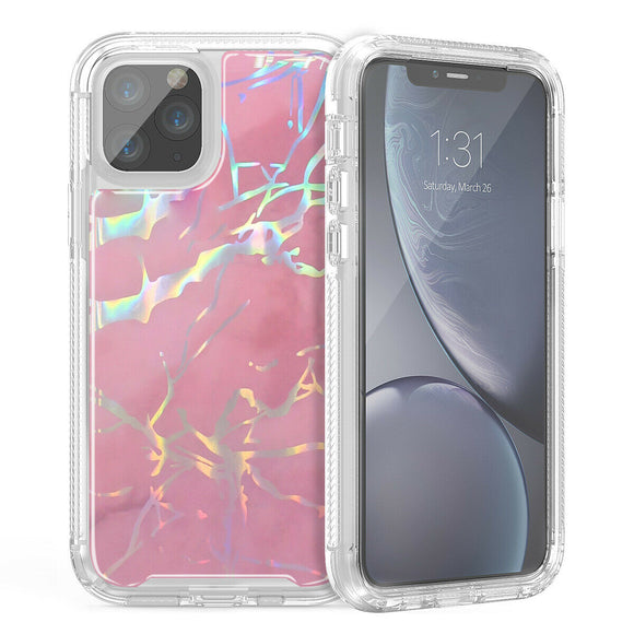 Hybrid Marble Shockproof Bling Rubber Case For iPhone 11 pro max (Marble Rose)