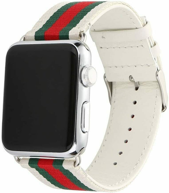 Apple Watch Band 42/44 mm Leather White & Red